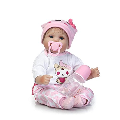 NPKDOLL Lifelike Soft Simulation Silicone Reborn Baby Christmas Doll 18inch 45cm Boy Girl Gift Doll for Children Lucky Pink Bear Clothes Lovely Doll