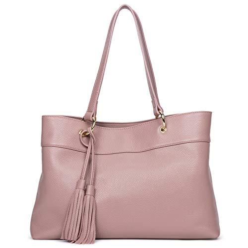 GIONAR Leather Purse Handbag Women RFID Black Zipper Tote Brown Handles Designer Large Satchel Shoulder Bag