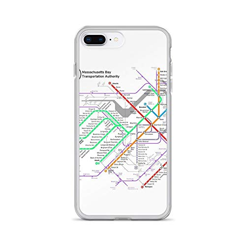 iPhone 7 Plus/8 Plus Pure Clear Case Cases Cover MBTA Boston Subway - The T (Light Background)