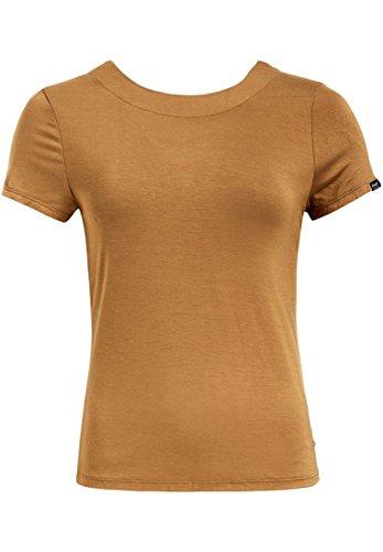 Corta Básico Amarillo Camisa Mujer Para Deportiva Khujo Manga Redondo Cuello P4afqxw