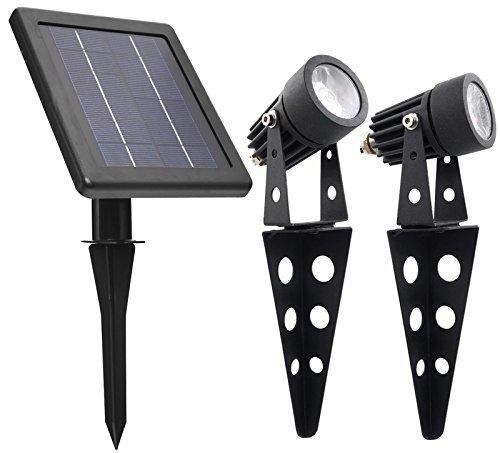 MINI 50X Twin Solar-Powered Cast Aluminium Warm White LED Spotlight 60-100 Lumen