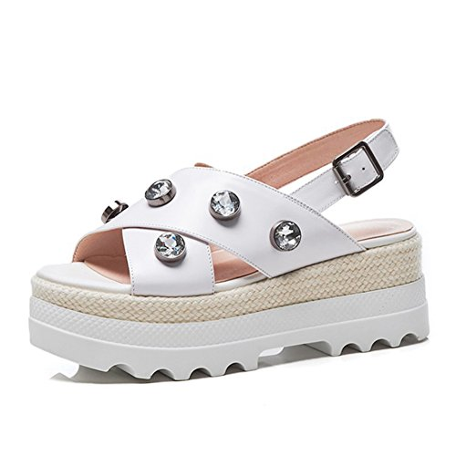 Zapatos de Mujer PU Summer Comfort Sandalias Flat Heel Round Rhinestone del Dedo del pie para Casual Beach Shoes White Pink Lady Student Shoes (Color : Blanco, tamaño : 37) Blanco
