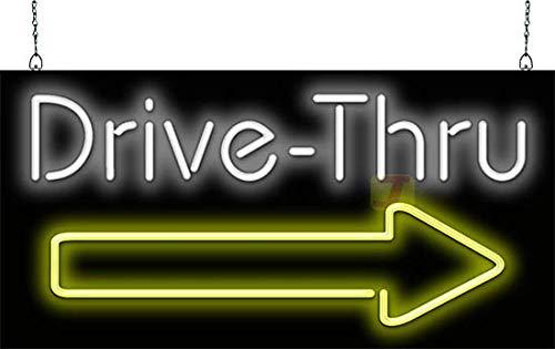 Drive-Thru w/Right Arrow Neon Sign