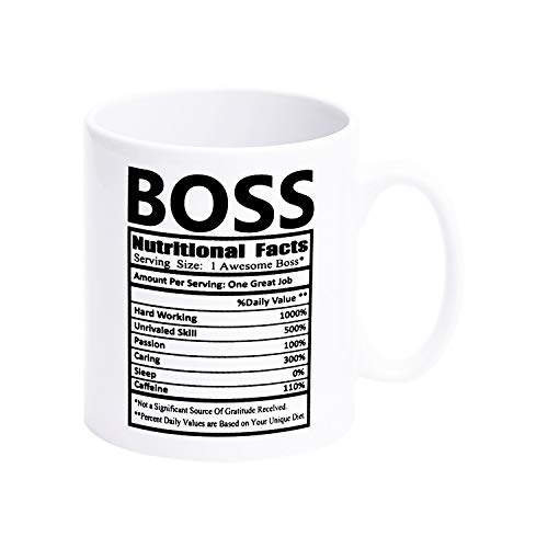 Boss Nutritional Facts Coffee Mugs Christmas Brithday Gift Coffee Tea Cup for Men Boss Friends or Daily Use 12 Oz