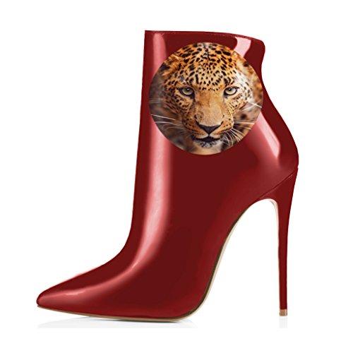 Kompani Kvinnor Pekade Tå Stövletter Glansiga Höga Klackar Stilettos Med Blommiga Tryck Skor Storlek 4-15 Oss Röda Leopard