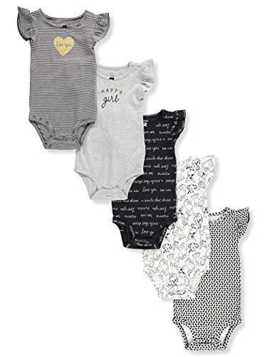 Carter's Baby Girls 5 Pack Bodysuit Set, Black/White, -