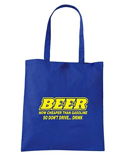 T-Shirtshock - Bolsa para la compra FUN0735 beer cheaper than gas adhesive vinyl decal 60452 Rojo