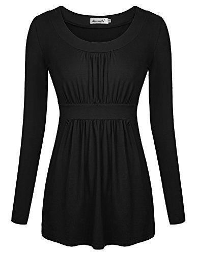 Ninedaily Women Blouses Long Sleeve Draped Scoop Neck Flattering Tunic Tops Black Large (Draped Scoop Neck)