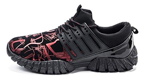 NEWZCERS Zapatillas de deporte ligeras transpirables de los zapatillas de deporte de los zapatos corrientes para los muchachos del adolescente de los hombres Rojo