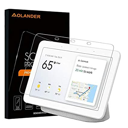 Aolander [2 Pack] Screen Protector for Google Home Hub 2018,[2 5D Round  Edge] [9H Hardness] [High Definition] [Bubble Free] Tempered Glass Screen