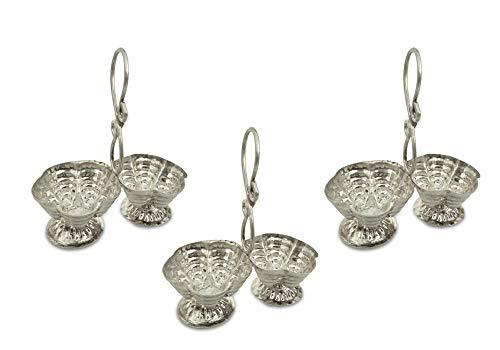 Shubhkart Silver Plated Haldi Kumkum Stand (Pack Of 3), Handmade Silver Plated Holder for Haldi and Kumkum.