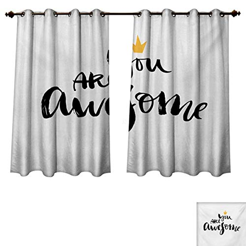 RuppertTextile Quote Blackout Thermal Curtain Panel Ink Lettering You are Awesome Modern Brush Calligraphy and a Crown on Top Patterned Drape for Glass Door Black White and Yellow W63 x L72 inch