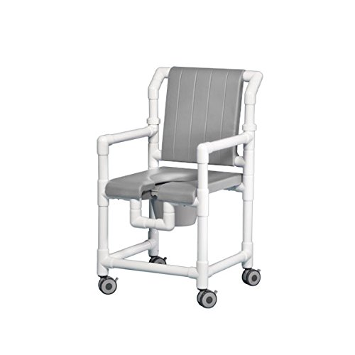 Dlx Shower Chair Commode W/Open Front Seat & Dlx Back Gray