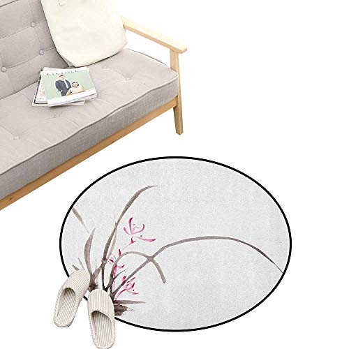 Art Round Rug Living Room ,Traditional Ink Orchid Flower Drawing Oriental Chinese Effects Spiritual Theme, Bedrooms Laundry Room Decor 47