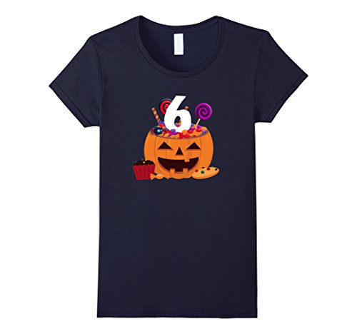 Old Navy Cupcake Costumes (Womens Pumpkin O' Lantern T-shirt 6th Birthday Kids Youth Small Navy)