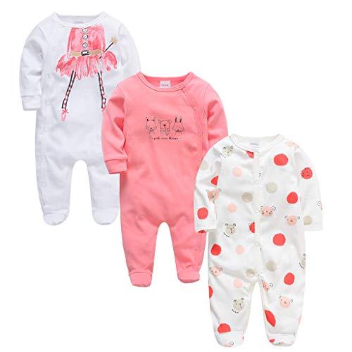 JiAmy Baby Rompers 3-Pack, lange mouwen, rompertjes, jongens, meisjes, met voeten, slaappak, katoen, baby onesie kleding…