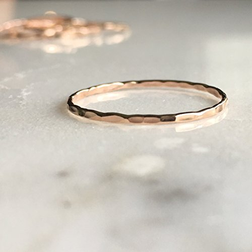 Stacking Ring 14k Rose Gold Filled, Dainty Little Plain Band, Size - Plain Mid Toe