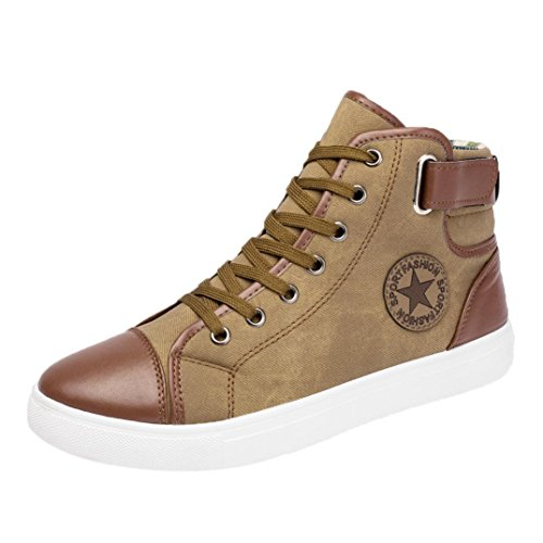 Price comparison product image Haoricu_ Hot Sales Athletic Shoes Men Women Couple Shoes Causal Lace-Up Ankle Boots Sneakers Casual High Top Canvas Shoes (37~47) (US:8,  Khkai)