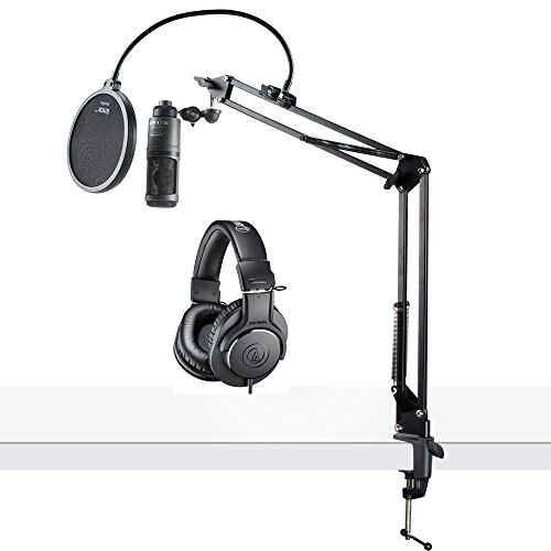 Audio-Technica AT2020USB+ USB Microphone with ATH-M20x Headphones, Knox Boom Arm & Pop Filter by Audio-Technica