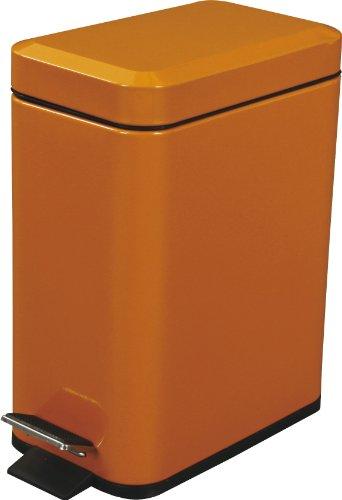 (Azumaya Orange Dust Trash Can Square Shape Comapct 1.3 GAL Contain Steel Shiny Coating size 11.5