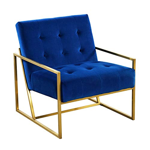 (Velvet Accent Arm Chair, Mid-Century Modern Single Lounge Chair with Metal Frame in Gold Finishing, Living Room Furniture - Royal Blue)