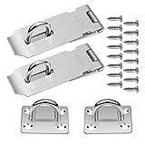 Homgaty 2 Pack 4 Inch Padlock Latch,Safety Door Hasp Staple Lock Clasp SUS 304 Stainless Steel Door Bolt Latch