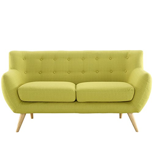 Modway Remark Mid-Century Modern Loveseat With Upholstered Fabric In Wheatgrass