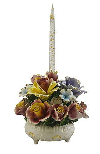 Capodimonte Authentic Italian Multicolor Gold Rose Flower Blooming Bouquet Single Candle Holder