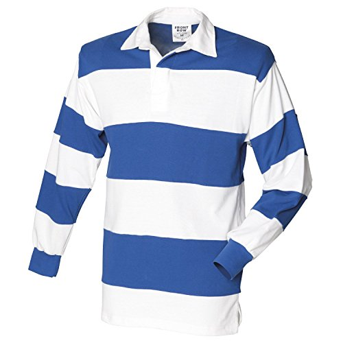 Front Row Sewn stripe long sleeve rugby shirt White & Royal (White collar) S (Sewn Rugby Stripe Shirt)