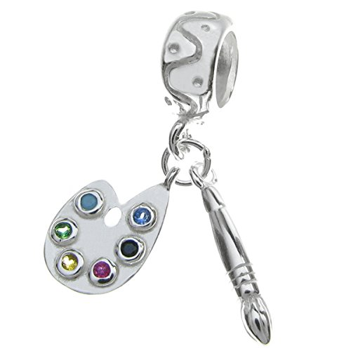 Queenberry Sterling Silver Cubic Zirconia Crystal Art Palette with Brush European Dangle Bead - Sterling Art