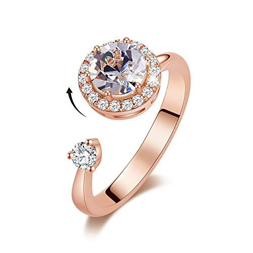 - CDE Birthstone Rings for Women Rose Gold Plated Embellished with Crystals from Swarovksi Open Expandable Design Fit Size for 6-8, Gift for Mothers Day