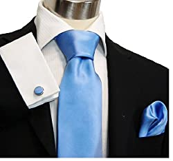 Paul Malone Necktie, Pocket Square and Cufflinks 100% Silk Solid Blue