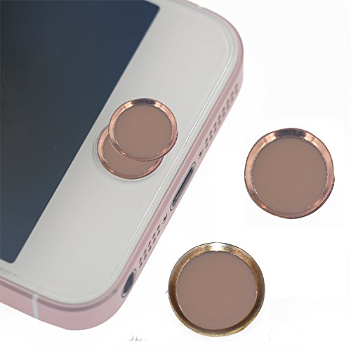 Pack of 2 ROSE Gold iPad Home Button Sticker ,support Fingerprint Indentification Touch ID FOR iPhone se iPhone 6/6s iPhone 6 plus/6s plus ( 2 Rosegold, 1 with Gold Ring , 1 with Rose Gold Ring )