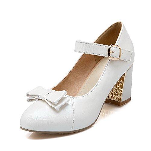 Dell'unità Donne Della Weenfashion Bianco Chiusa shoes Solido Pompe Punta Di Elaborazione Tacchi Dell'inarcamento Rotonda 6Awaxp