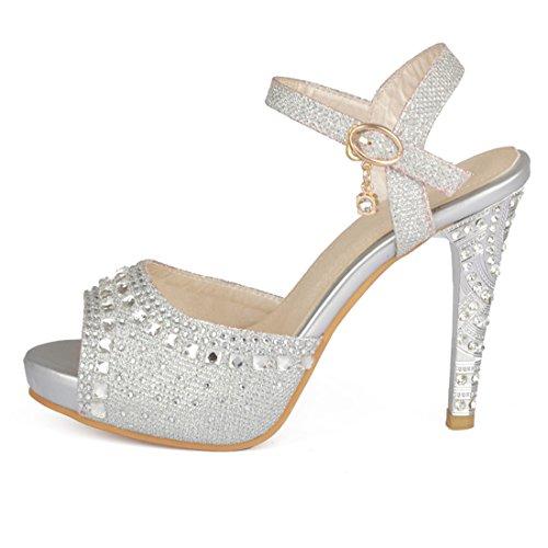YE Damen High Heels Stiletto Glitzer Riemchen Sandalen mit Strass Peep Toe Plateau Pumps Hochzeit Braut Schuhe(Silber)