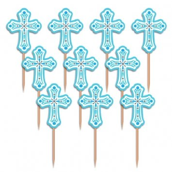 First Communion, Confirmation or Baptism Cross Blue Cupcake Picks Set of 12