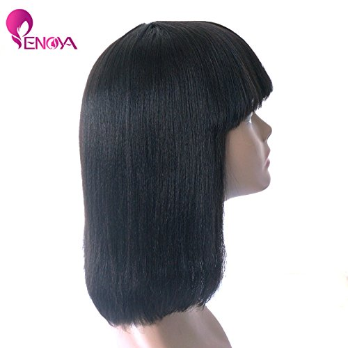 Human Hair Bob Wigs With Bangs Brazilian Yaki Machine Made Glueless Short Wigs