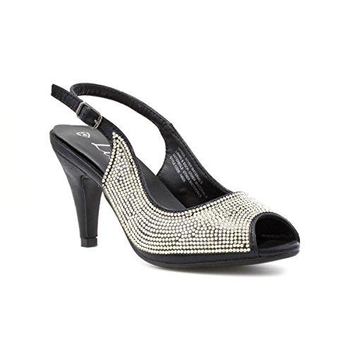 Lilley - Sandalia con tira trasera, negra, con apliques estilo diamante, para mujer Lilley Negro
