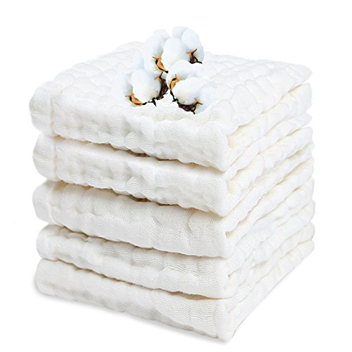 "PPOGOO Baby Muslin Washcloths Organic Cotton Baby Wipes Newborn Baby Face Towel Excellent Soft Baby Shower Registry Gift 5 Pack 10""x 10"" White"