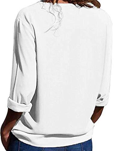 T Taille Chic Tops Blouse Col Tee Femme Chemisier Blanc Hauts V Shirts Mousseline Longue Tunique Grande Manche Casual Soie Chemise lgant de vw4H7xq