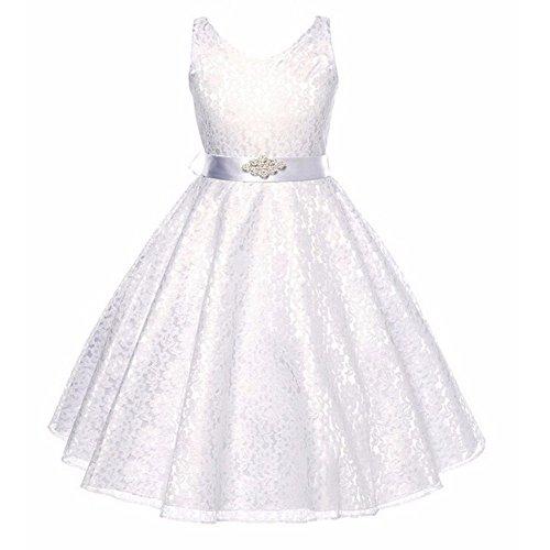 Mini Kitty Girls Wedding Dress Bridesmaid Tull Sleeveless Lace Dress,White,4-5 (Child Dress Online)