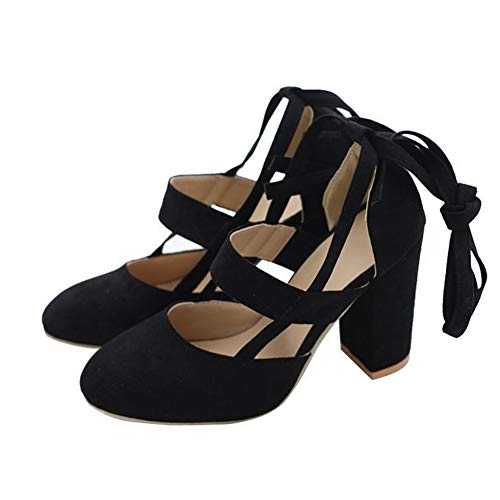 chegong Women's Fashion Thick High Heel Pumps Closed Toe Straps Platform Sandals Black 37