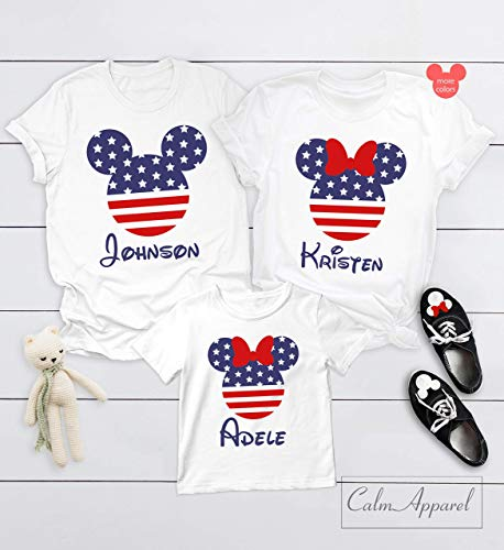 (American Flag Shirts, 4th of July Outfits, Family Matching Shirts, His Hers Couple Tess, Ladies v-Neck Summer Vacation Racer Tanks)