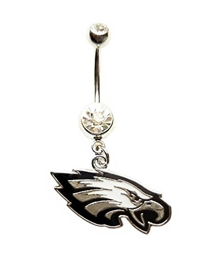 PHILADELPHIA EAGLES FOOTBALL TEAM Clear Navel Belly Button Ring Body Jewelry Piercing 14 Gauge