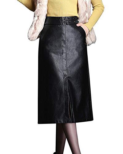Jupe De Dames Taille Haute Slim Mode Casual Personnalit Jupe en Cuir A-Line Jupe Noir