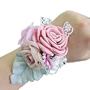 New Lee Burning Camellia Wrist Flower,Wedding Groom Bridal Wrist Flower,Wedding Supplies,Boutonniere Wrist Flower Set 17
