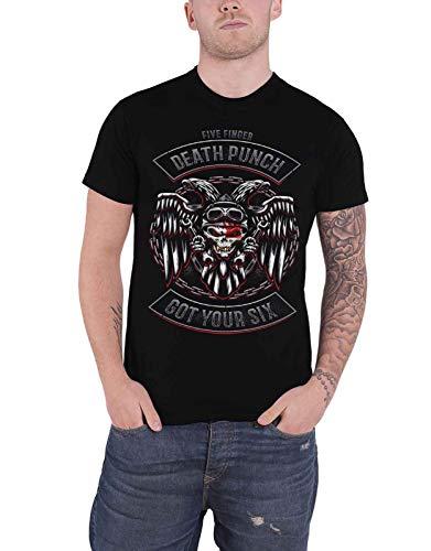 Five Finger Death Punch T Shirt Biker Badge Band Logo Official Mens Black Size L (Biker Logo T-shirt)