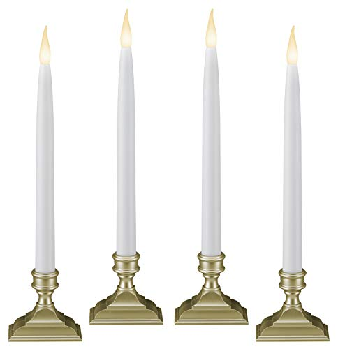 612 Vermont Battery Operated LED Window Candles with Timer (6 on/18 Off), Patented Warm White Dual LED Flicker Flame (Pack of 4, Pewter)