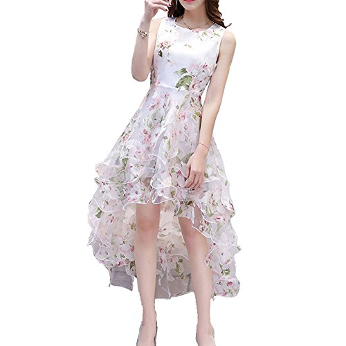 Zecoo Women's White Floral Print Gauze Panel Multi Layer Sleeveless Hi-lo Dress (S, Grass Green)