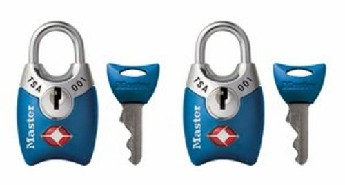 Master Lock Padlock, Keyed TSA-Accepted Luggage Lock, 1 in. Wide, Blue, 4689TBLU (Pack of 2) (Lock With Key Suitcase)